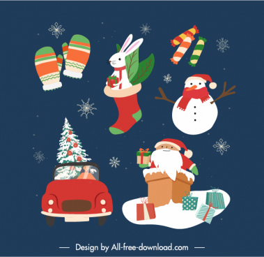 xmas accessories icons colorful classical symbols sketch