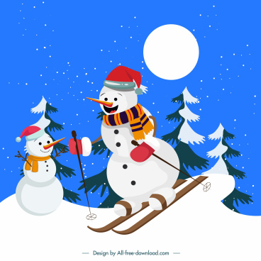 xmas background cartoon stylized skiing snowman sketch