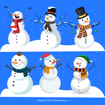 xmas background cute stylized snowman charactersdecor