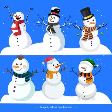xmas background cute stylized snowman charactersdecor