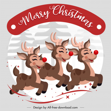 xmas banner funny reindeers sketch cartoon design