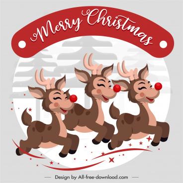 xmas banner funny reindeers sketch cartoon design