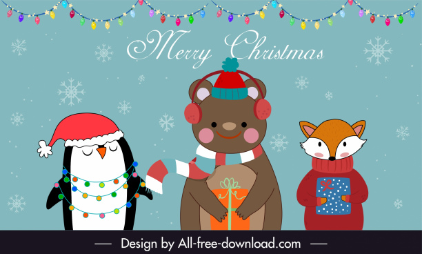 xmas banner template cute stylized animal cartoon characters