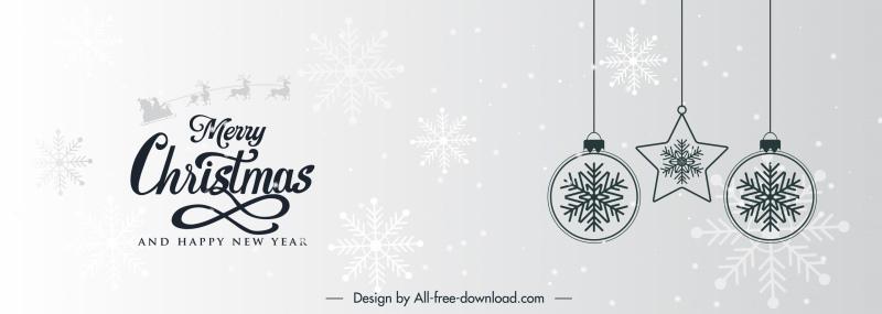 xmas banner template elegant baubles black white design