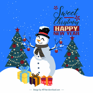 xmas banner template fir trees snowman gift decor