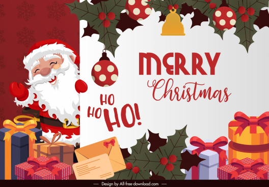 xmas banner template funny santa classic elements decor