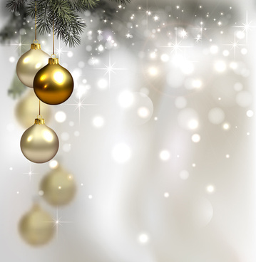 Christmas Holiday Background.Christmas Baubles Shiny Holiday Background Free Vector