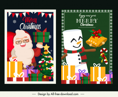 xmas card templates cute santa snowman presents sketch