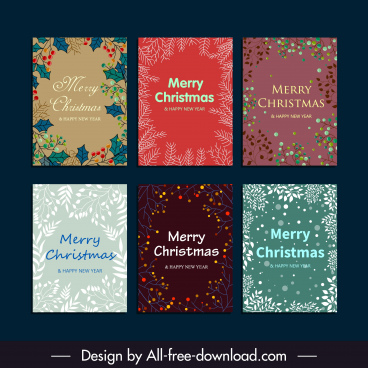 xmas card templates flat classical plants decor