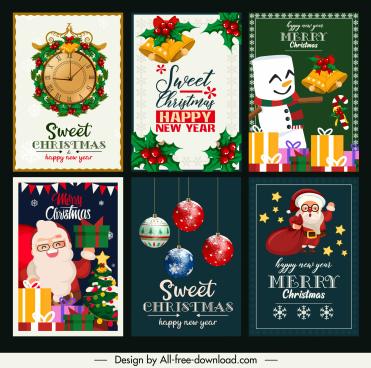 xmas cards templates elegant design colorful classic decor