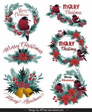 xmas design elements floral pine wreath bird decor