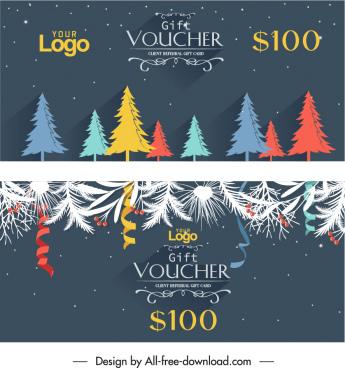xmas gift voucher templates colorful dark flat emblems
