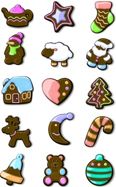 Xmas gingerbread icons pack