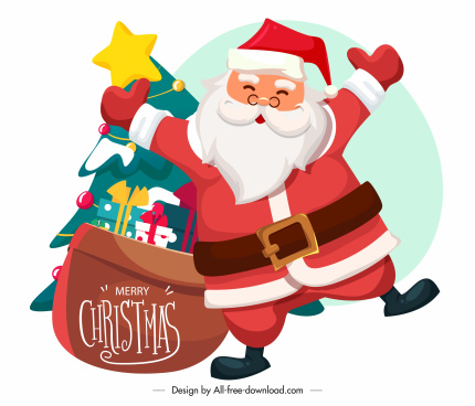 xmas icon santa claus gifts fir tree sketch