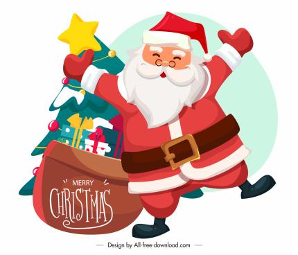 xmas icon santa claus gifts fir tree sketch