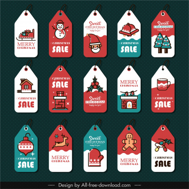 xmas label templates colorful classic vertical flat decor