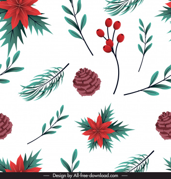 xmas pattern classic flowers pines symbol repeating decor