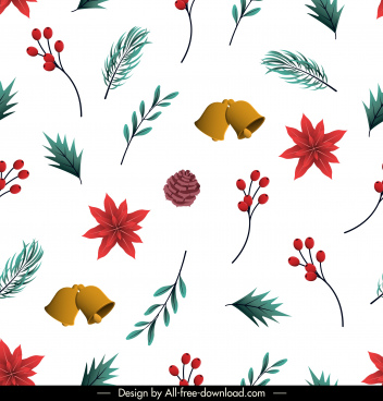 xmas pattern pines elements floral bells decor
