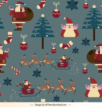 xmas pattern template colorful classical repeating elements decor