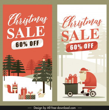 xmas sale banners flat classic decor vertical design