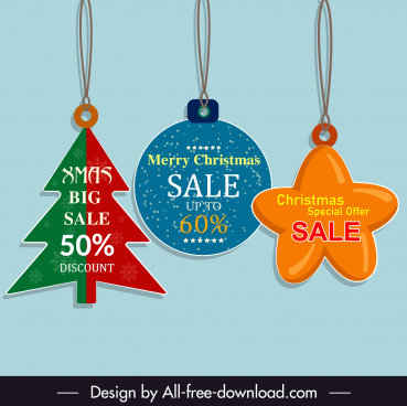 xmas sale tag templates colored flat classic shapes