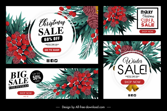 xmas sale templates classic colorful leaves pine decor