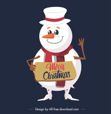 xmas snowman icon cute stylized cartoon character