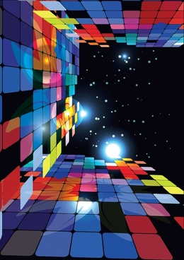 decorative background modern colorful 3d squares light effect