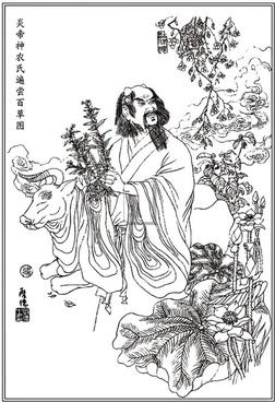 yandi the shennong bianchang baicao figure vector