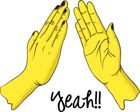 yeah hands background yellow handdrawn design