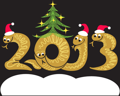 year of snake and christmas design elements vector