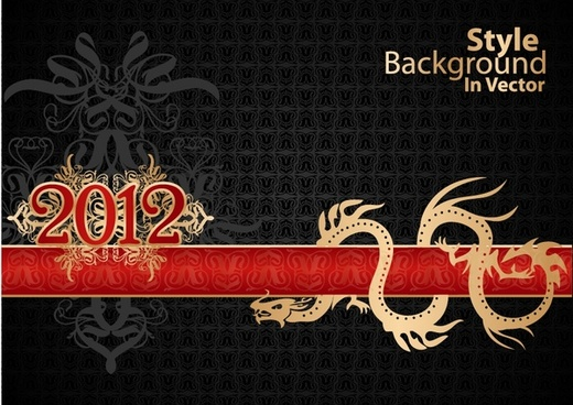 year of the dragon 2012 calendar calendar vector background