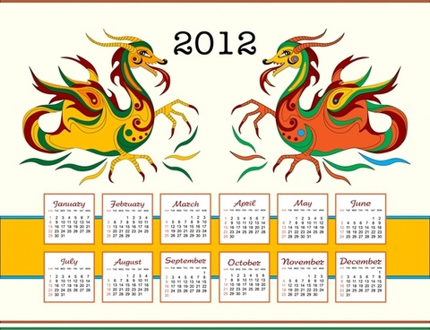 year of the dragon calendar vector