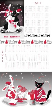 year of the rabbit 2011 calendar template vector