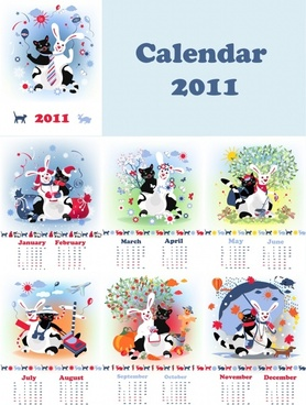 2011 calendar templates cute stylized animals icons decor
