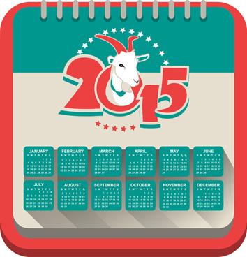 year of the sheep15 calendar vector