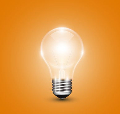 yellow background with light bulb vector