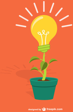 yellow bulb with plant vector