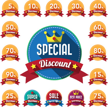 yellow discount labels wit red ribbon vector