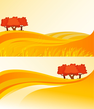 yellow field drawings vector illustration