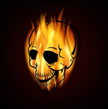 yellow flaming skull icon contrast style design