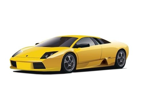 yellow luxury car design with realistic style
