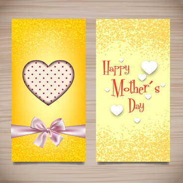 yellow mother day card desinged with hearts