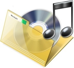 Yellow open music folder