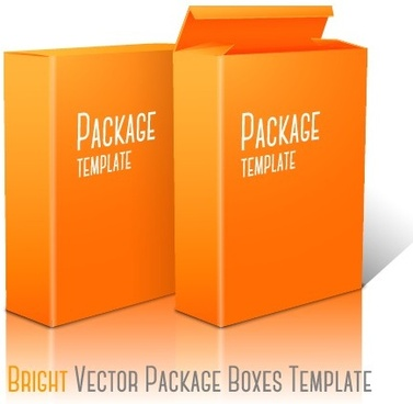 yellow package box template vector graphics