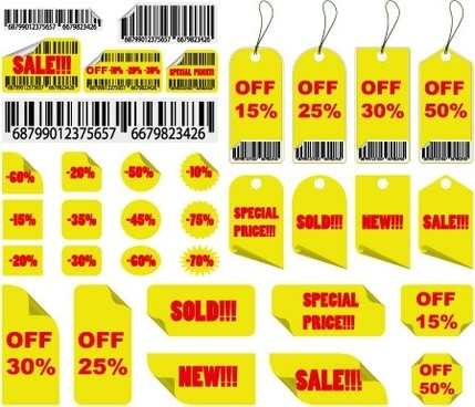 yellow sales tag vector