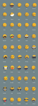 yellow shadowed emoticons icons vector