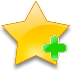 Yellow star with green add sign