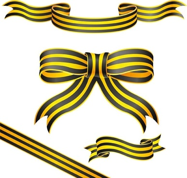 ribbons icons collection yellow striped decoration swirl design