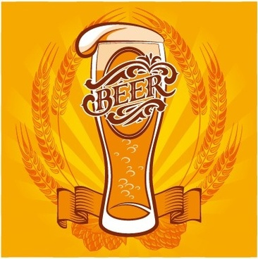 yellow style beer menu cover design vector